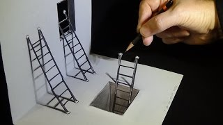 getlinkyoutube.com-How to Draw Ladders Optical Illusion
