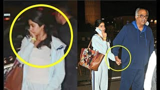 Jhanvi Kapoor Gets Emotional As Daddy Boney Kapoor Sees Her Off At Airport
