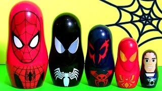getlinkyoutube.com-Homem Aranha Copinhos de Empilhar | Marvel Spiderman Stacking Cups Nesting Toys Surprise