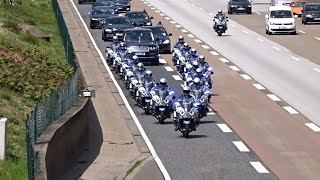 getlinkyoutube.com-Queen Elizabeth II and Enormous Escort Entourage on a cleared Highway at Frankfurt