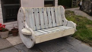 getlinkyoutube.com-DIY Garden Bench Project - Pallet and Cable Reel Furniture
