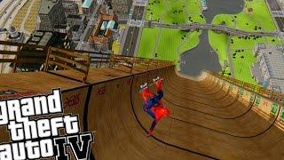 getlinkyoutube.com-Spiderman Skateboarding Mega Ramp - Grand Theft Auto IV Skate Mod