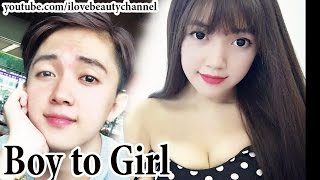 getlinkyoutube.com-AMAZING BEST MAKEUP TRANSFORMATION BOY TO GIRL LOVELY ✔