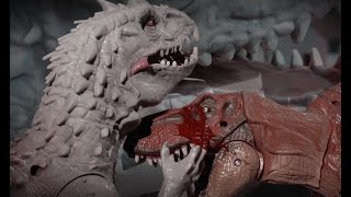 getlinkyoutube.com-Jurassic World Indominus Rex VS T-rex and Blue Lego stop motion