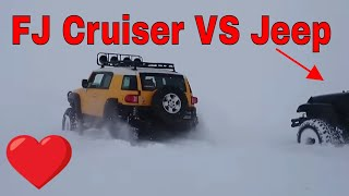 getlinkyoutube.com-FJ Cruiser VS Jeep Wrangler - Extreme & Deep Snow Challenge Part 2