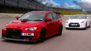 getlinkyoutube.com-Nissan GTR vs Mitsubishi EVO FQ 400 - Fifth Gear