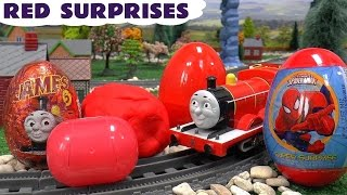 getlinkyoutube.com-Learn Colours Surprise Eggs Play Doh Cars Thomas and Friends Sesame Street Spider-Man Red Colors