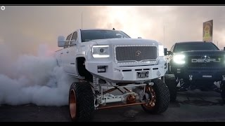 getlinkyoutube.com-Big SEMA trucks burning out! Video is full of burnouts resulting to a blown differentials!