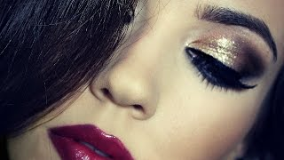getlinkyoutube.com-Birthday Makeup Tutorial | Gold Dramatic Makeup