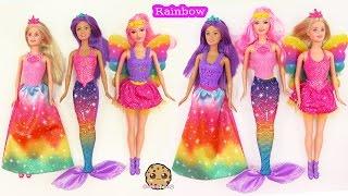 getlinkyoutube.com-Barbie RAINBOW Easy Dress Up Dolls Mermaid Fairy Princess Fairytale Cookieswirlc Toy Video