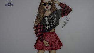 getlinkyoutube.com-كيفية رسم بنت بالالوان مع ملابس مميزة