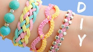 getlinkyoutube.com-DIY friendship bracelets! 4 Easy Stackable Arm Candy projects!