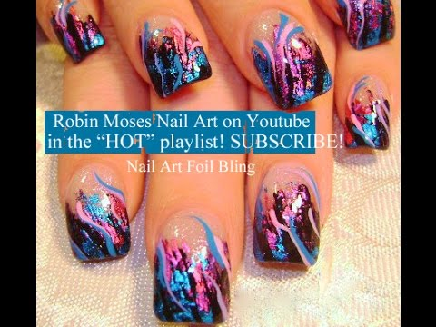 CRACKLE POLISH another way. design with 3d shine: robin moses nail art tutorial