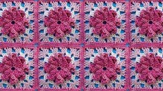 getlinkyoutube.com-Мотив с цветком Урок 319 Сrochet flower motive Вязание крючком
