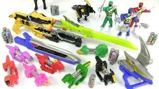 getlinkyoutube.com-Massive Collection Power Rangers Dino Charge Toys - Morphers Mini Zords - Light Sound