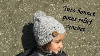 getlinkyoutube.com-TUTO BONNET POINT DAMIER RELIEF AU CROCHET relief crochet hat GORRO RELIEVE TEJIDO CROCHET