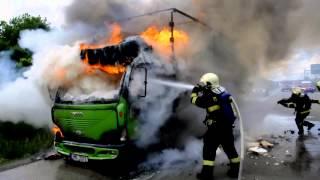 Požár nákladního vozidla na obchvatu Olomouce - 21-5-2013
