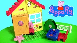 getlinkyoutube.com-Peppa Pig Garden House Blocks Set Lego Duplo Compatible with Picnic Table by Disney Collector