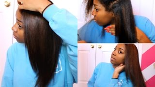 getlinkyoutube.com-Curly to Straight Hair Routine | Color Treated {2015}