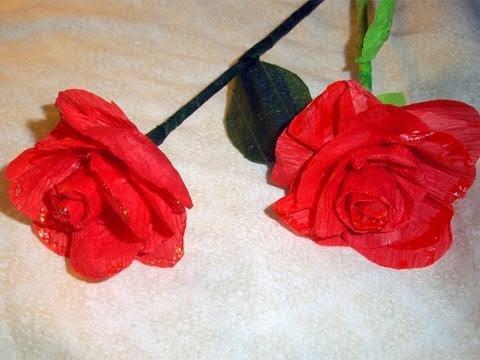 Cómo hacer rosas con papel crepé que parecen de verdad