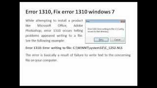 microsoft office 2013 installation error 1310