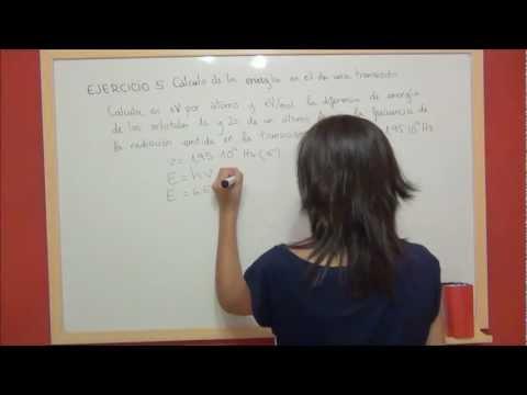 QUIMICA Ejercicio 5 Estructura atómica - Cálculo energía entre dos orbitales atomicos de un átomo A