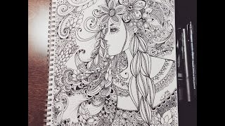 getlinkyoutube.com-zentangle inspired woman doodle - flowers
