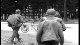 getlinkyoutube.com-American Army troops entering area of Dachau Concentration Camp, Dachau, Germany,...HD Stock Footage