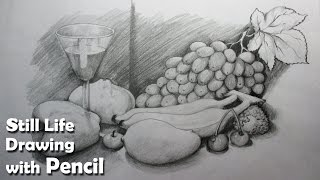 getlinkyoutube.com-How to Draw A Still Life : Fruits in Pencil   Step by step