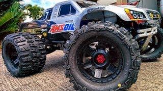 getlinkyoutube.com-Traxxas E Maxx 4s Lipo Brushless Monster Trencher X Home Bash..Jumps, Wheelies, Cart Wheels!