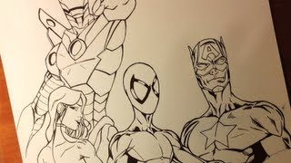 getlinkyoutube.com-Inking super heroes Iron Man  and Spiderman and Capitan America - How to Ink Comic book 3/3