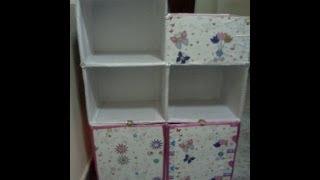 getlinkyoutube.com-Fácil Estantería infantil para libros y útiles de escritorio hecho con cajas de cartón