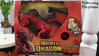 Dinosaur and Dragon Toys: Mighty Dragon w/ light and sound Unboxing & Playtime