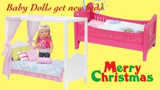 getlinkyoutube.com-Merry Christmas Baby Annabell Baby Born Get New Dolls Beds ! Our Generation my Sweet Canopy Bed