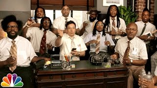 "Jimmy Fallon, Migos & The Roots Sing ""Bad and Boujee"" (w/ Office Supplies)"