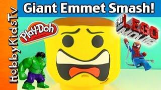 getlinkyoutube.com-Play-Doh GIANT Lego Head EMMET Makeover! Villain Smash + Surprise Egg with HobbyDude by HobbyKidsTV