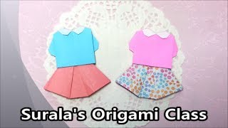 getlinkyoutube.com-Origami - Blouse & Skirt / 종이접기 - 블라우스와 치마