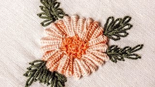 getlinkyoutube.com-Hand Embroidery Designs | Double cast on stitch | HandiWorks #31
