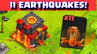 getlinkyoutube.com-Clash of Clans 11 EARTHQUAKE SPELLS ATTACK ON TOWNHALL + WALLS CLAN WAR TROLLING