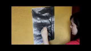 getlinkyoutube.com-Stormy Sky and Dead Tree Charcoal Drawing