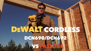 getlinkyoutube.com-DeWalt DCN690 20 Volt Max Cordless Nail Gun Tool Review VS. Paslode