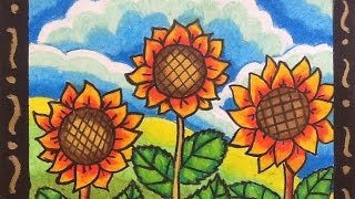 getlinkyoutube.com-DIY How to Draw and Color Cartoon Sunflowers