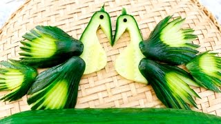 getlinkyoutube.com-Art In Cucumber Peacock | Vegetable Carving Garnish | Food Decoration | Party Garnishing