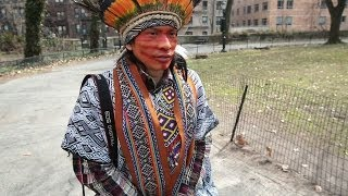 AMAZON NATIVE EXPLORES THE STREETS OF NYC - BBC NEWS width=