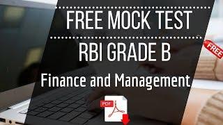 RBI Grade B Finance and Management - Free Full Length Mock Test