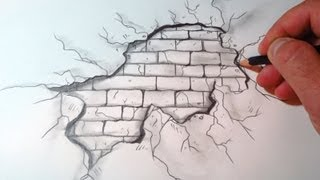 getlinkyoutube.com-How To Draw A Cracked Brick Wall (The Original)