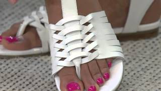 getlinkyoutube.com-Marc Fisher Leather Sandals with Woven Detail - Lea with Leah Williams