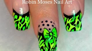 getlinkyoutube.com-Neon Leopard French Tip Nails | Diva Nail Art Design Tutorial