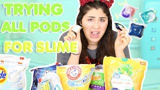 DO TIDE PODS ACTUALLY WORK FOR SLIME? | testing every laundry pods for slime | Slimeatory #284