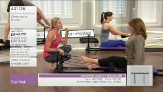 Debbie Flint's bare feet on QVC UK pilates show
